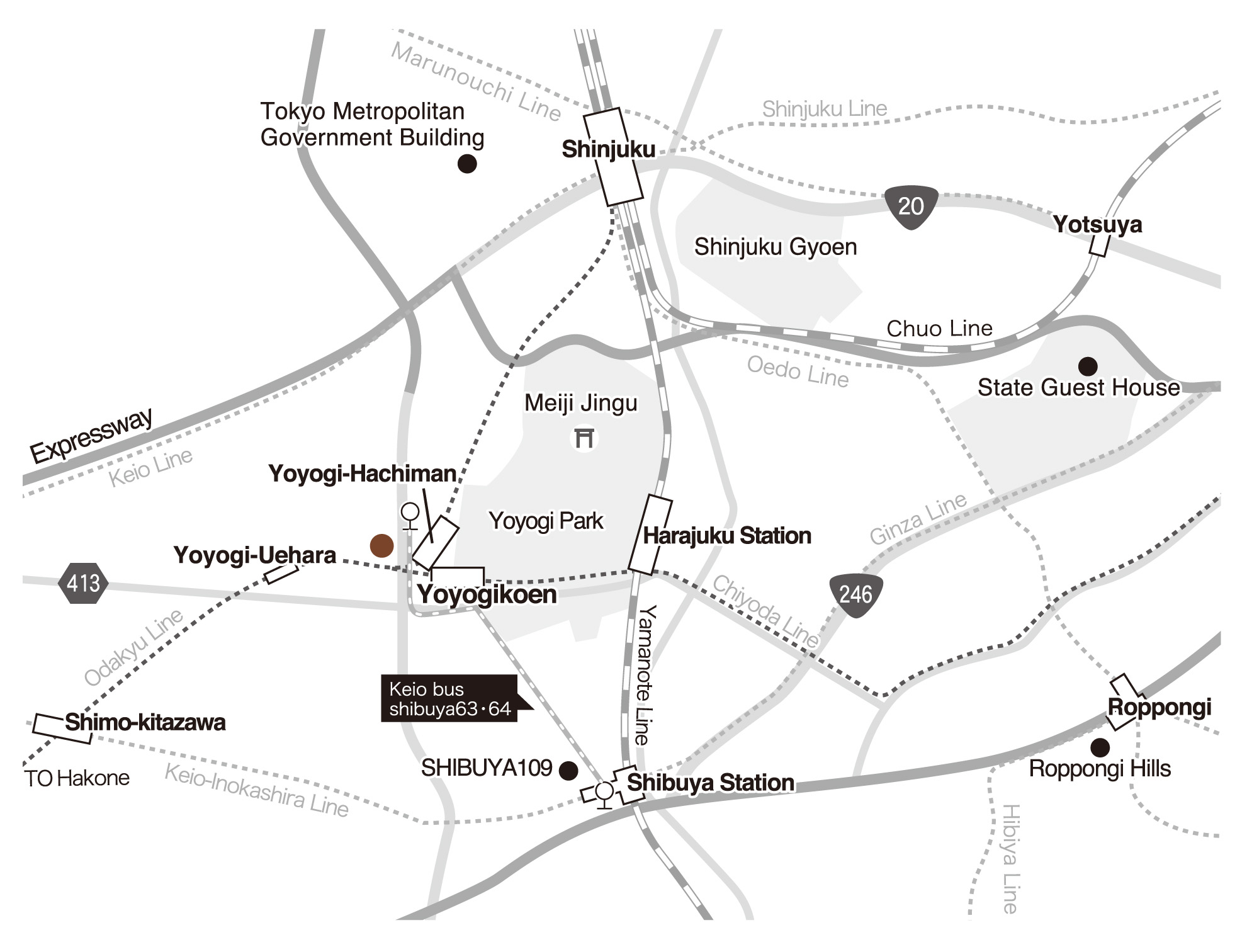 Location of Shibuya and Almond Hostel